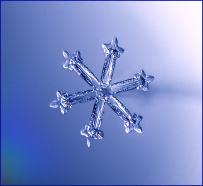 single enlarged snowflake