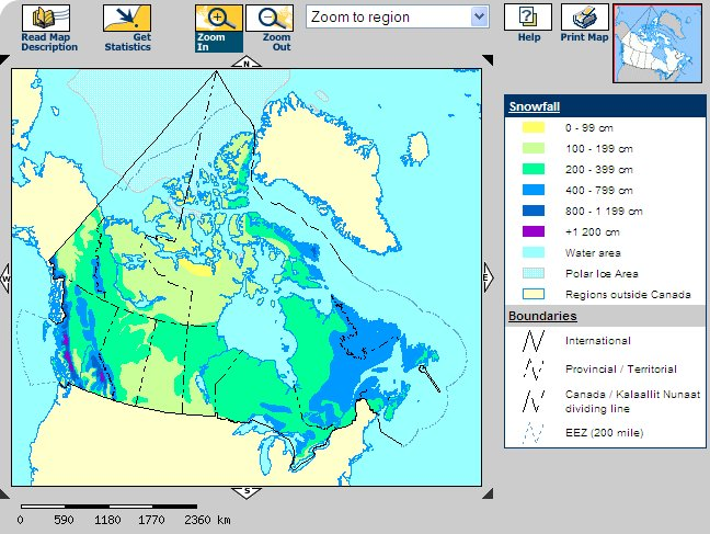 Snow Fall Map Of Canada Snowflake Hot Spots